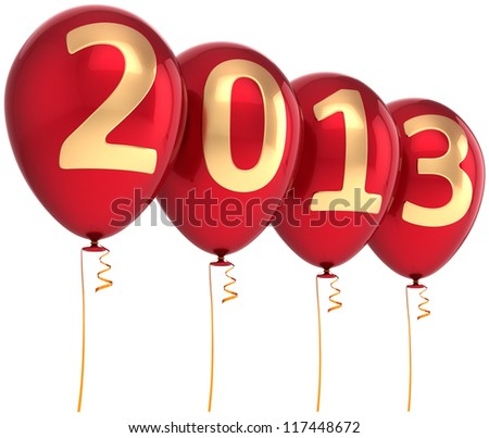 2013 New Year party balloon holiday decoration. Red helium balloons with gold numbers. Future calendar date. Detailed 3d render. Isolated on white background.