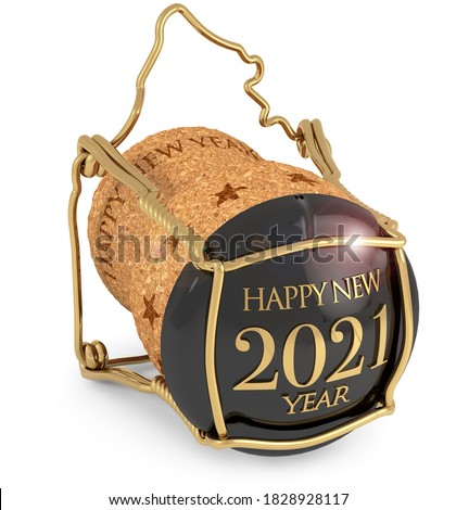 2021 New Year's Champagne Cap isolated, 3d illustration