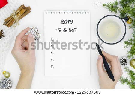 2019 New Year's concept. Top view of women hands writing goal to do list for new year or Christmas on notebook with fir tree branches, cinnamon sticks decorations on white table. Copy space. Flat lay.