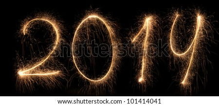 2014 new year, salute, Bengal fires, figures - stock photo