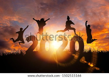 2020 New Year silhouette of woman jumping during golden sunrise or sunset with copy space. Image for Happy new year 2020 concept. Сток-фото ©