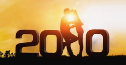 2020 New year Silhouette young couple Happy for romantic new year concept. Happy New Year 2020 Concept. - Image