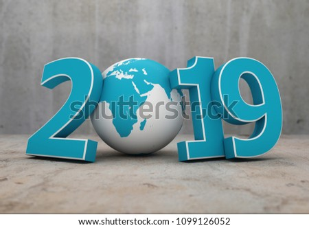 New Year 2019 with Globe - 3D Rendered Image  stock photo