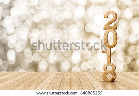 2018 new year wood number in perspective room with sparkling bokeh wall and wooden plank floor #640885255