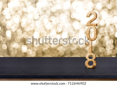 2018 new year wood number on wood table with sparkling gold bokeh wall,panoramic banner for display or montage of product #712646902