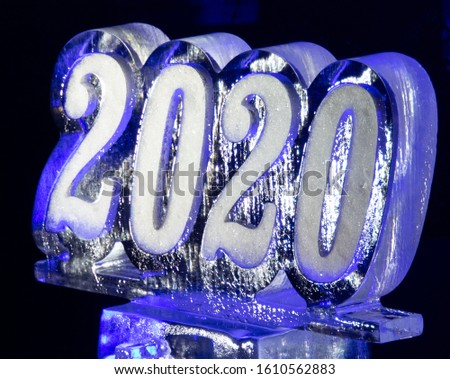 2020 New Years Eve with Colorful Ice Sculpture