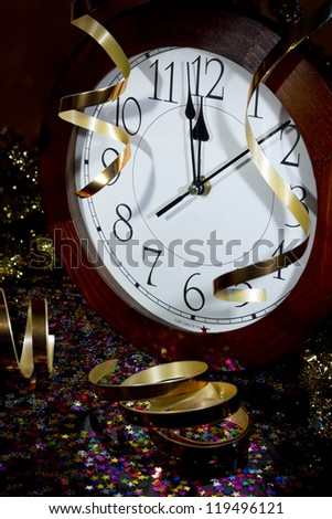 2013 New Years Party Background. Clock and festive tinsels