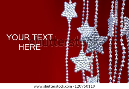 2013 New Years Party Background. Stars garland on red background