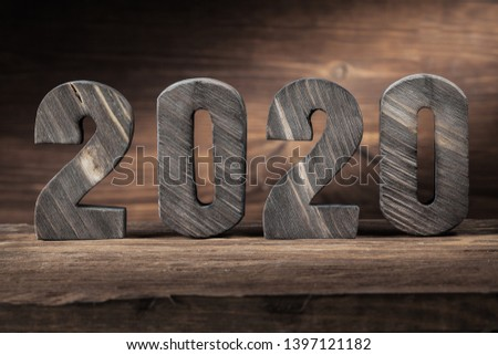 2020 new years wood letters on wooden background