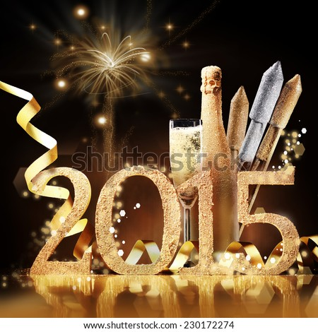 2015 New Yeas Eve celebration still life in elegant gold with the date, a flute and bottle of champagne and rockets in front of a brown background with a pyrotechnic display of bursting fireworks #230172274