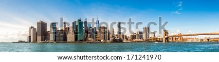 New York City Skyline Manhattan and Brooklyn bridge view