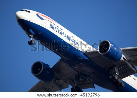 NEW YORK - JANUARY 6: A Boeing 777 British Airways arrives at JFK Airport on Runaway 31R on January 6, 2010 in New York.
