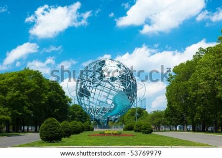 1964 New York World's Fair Unisphere in Flushing Meadows Park - stock photo