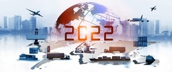 2022 newyear of The world logistics , there are world map with logistic network distribution on background and Logistics Industrial Container Cargo freight ship for Concept of fast or instant shipping