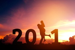 2021 Newyear Silhouette young couple Happy for romantic new year concept.