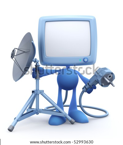"""""""Next Generation"""" of a Home TV - Self-Plugging System :) Cartoon Man with the old-fashioned tv-set instead of a head, holding electric power plug and mobile tripod stand with satellite dish"""