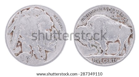 1928 Nickel Value - five cents. USA. Both sides isolated on white background. Old coin.