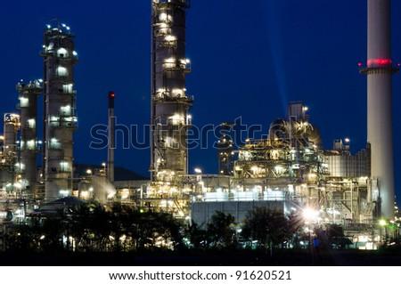 Night scene of power plant.