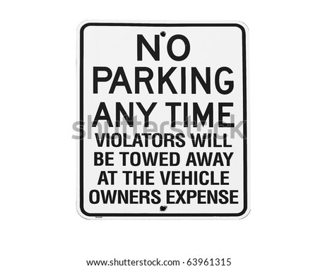 NO PARKING ANYTIME sign against white background