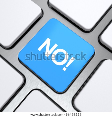 """No"" text on a button keyboard, 3d render"