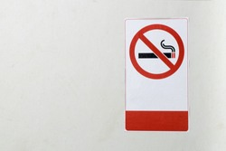 Non-smoking sign Mounted on a white wall