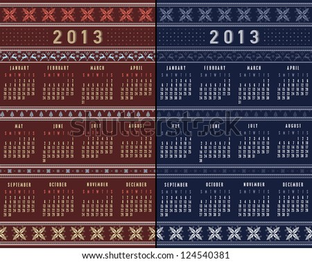 08 NORDIC SET calendar 2013 traditional knitted ornamental pattern winter brown & blue background