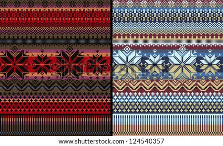 10 NORDIC SET traditional knitted ornamental pattern winter seamless multicolor striped background