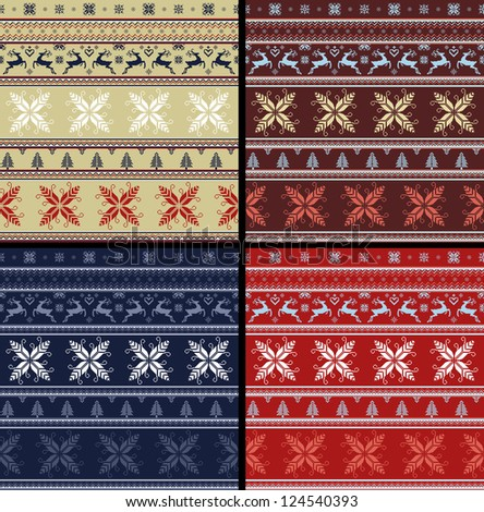 04 NORDIC SET traditional knitted ornamental pattern winter seamless red blue brown beige background