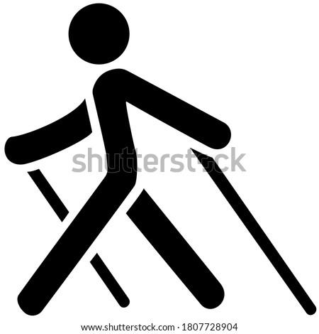 Nordic walking black icon on white background Stock photo ©