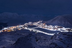 norway landscape ice nature of the city view of Spitsbergen Longyearbyen  Plateau Mountain Svalbard   arctic ocean winter  polar night view from above