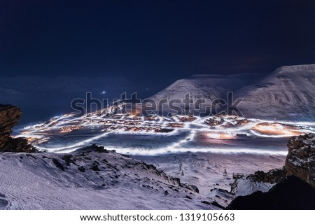 norway landscape ice nature of the city view of Spitsbergen Longyearbyen  Plateau Mountain Svalbard   arctic ocean winter  polar night view from above Сток-фото ©