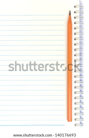 notebook with thin line and pencil