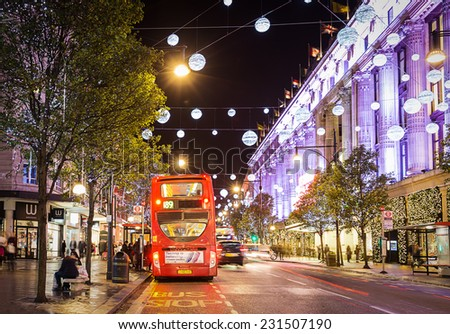 13 November 2014 Oxford Street London decorated for Christmas and New 2015 Year