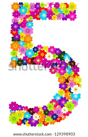 5, number flowers on white background