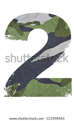2, number from military fabric texture on white background.