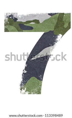 7, number from military fabric texture on white background. - stock photo