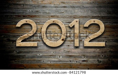"""""""2012"""" number on old wood background"""