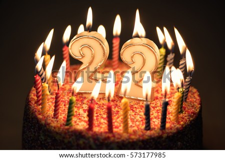 22 Number With Festive Candle For Holiday Cake Twenty Two Anniversary Birthday 573177985