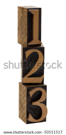 1, 2, 3 numbers in vintage wooden letterpress blocks, stained by black ink, stacked vertically, isolated on white
