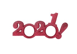 2021 numbers isolated. Two thousand twenty first New Year Holiday glasses in the form of figures two thousand twenty first on a white background.