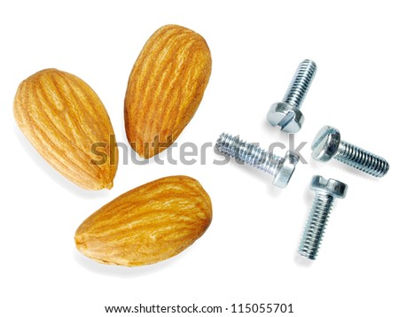 'Nuts' and bolts Almonds and bolts; white background with shadows