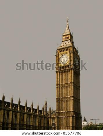 12 o'clock on Big Ben, London.