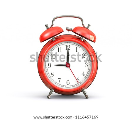 9 o'clock red alarm clock isolated on white background