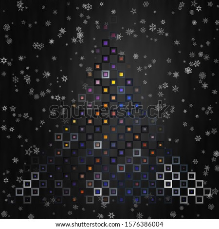 [object Object]New Year and christmas card, with snowflakes set in tile art style.