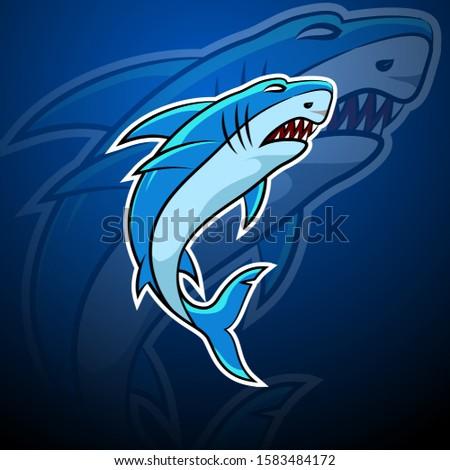[object Object]Shark esport badge logo emblem team simple professional design