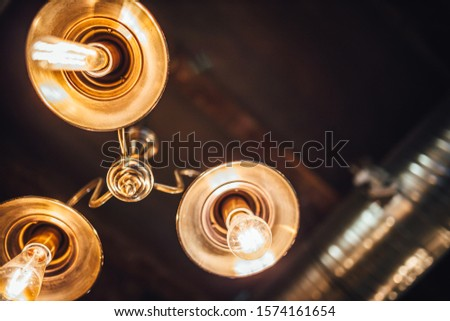 [object Object]View on hanging vintage light bulbs, Edison style light  #1574161654