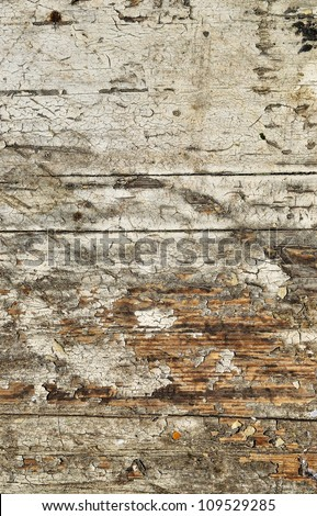 Obsolete weathered cracked white painted wood background