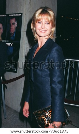 """27OCT97:  Actress/singer OLIVIA NEWTON JOHN at the premiere in Los Angeles of """"Mad City"""" which stars John Travolta & Dustin Hoffman. Olivia starred with Travolta in """"Grease"""" in 1978."""