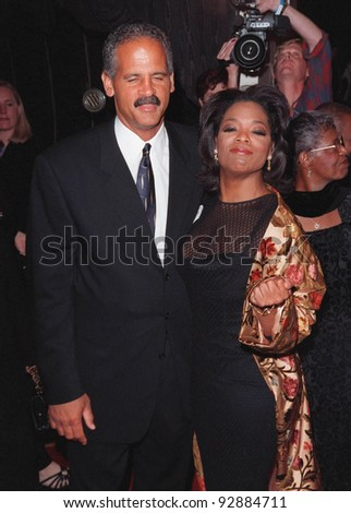 "12OCT98:  TV chat show queen OPRAH WINFREY & fiance STEADMAN at the Los Angeles premiere of her new movie ""Beloved."""