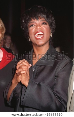 "20OCT97: TV presenter/actress OPRAH WINFREY at premiere in Los Angeles of her new TV movie ""Before Women Had Wings."" The movie is the first for Winfrey's Harpo Films production company."